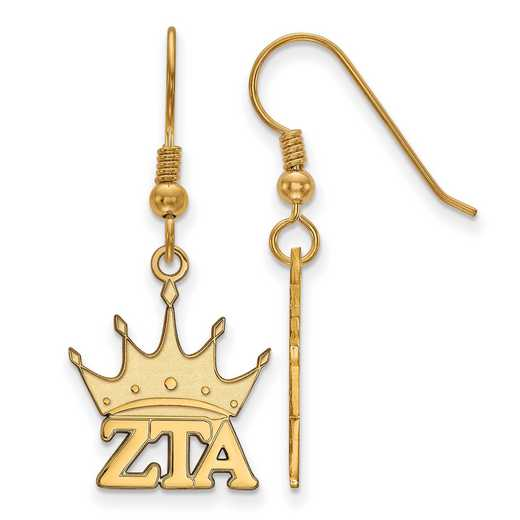 GP037ZTA: Strlng Slvr with Gold Plating LogoArt Zeta Tau Alpha Sml Dangle Erring