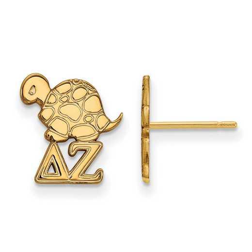 GP038DZ: Strlng Slvr with Gold Plating LogoArt Delta Zeta XS Post Erring