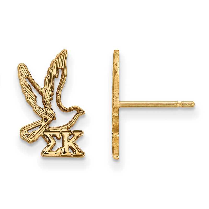GP038SKP: Strlng Slvr with Gold Plating LogoArt Sigma Kappa XS Post Erring