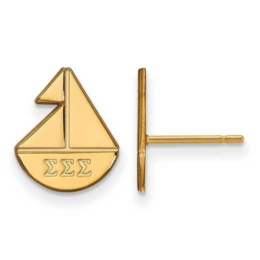 GP038SSS: Strlng Slvr with Gold Plating LogoArt Sigma Sigma Sigma XS Post Erring