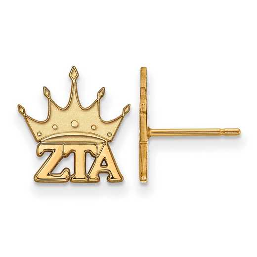 GP038ZTA: Strlng Slvr with Gold Plating LogoArt Zeta Tau Alpha XS Post Erring