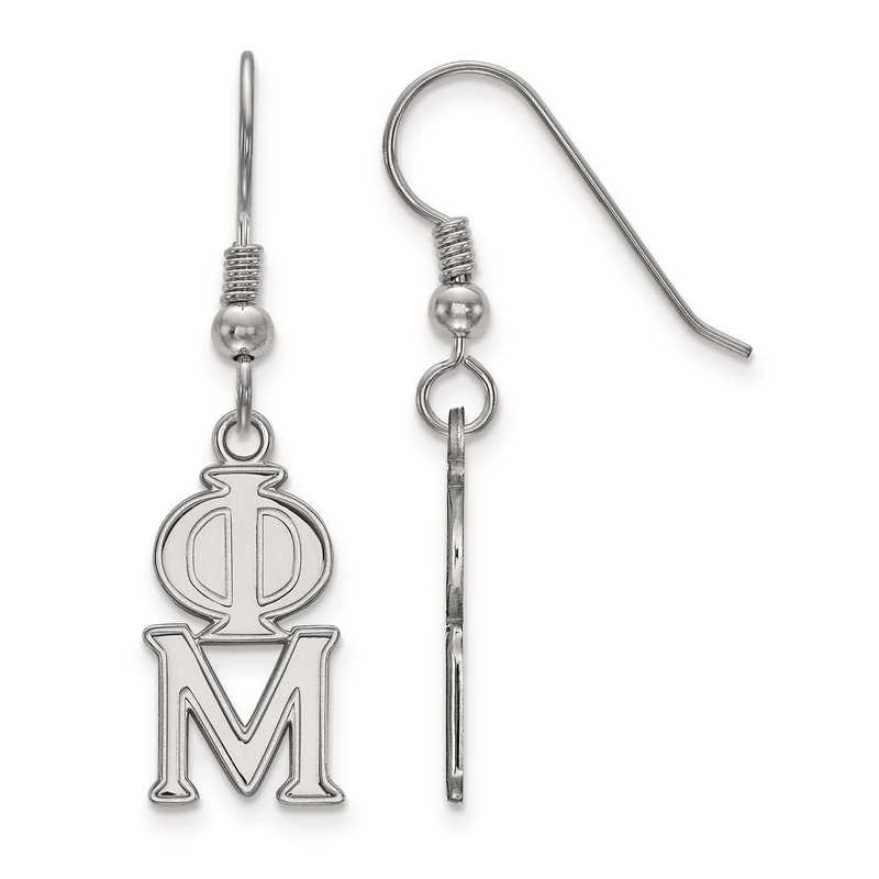 SS004PHM: Strlng Slvr LogoArt Phi Mu Dangle Medium Earrings
