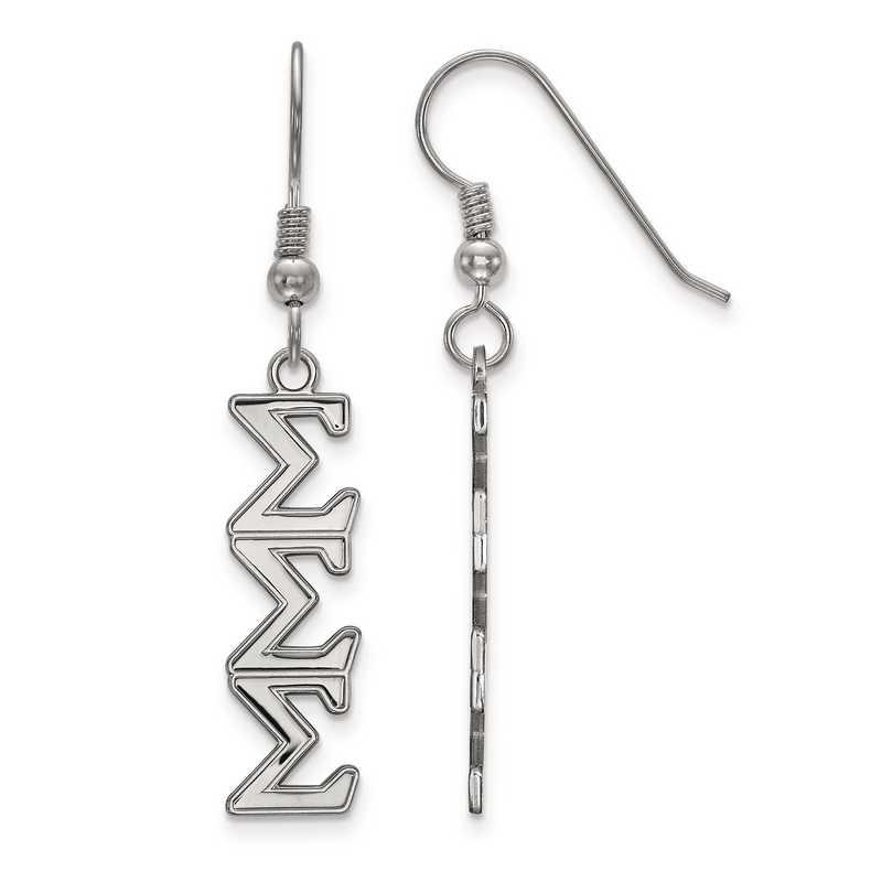 SS004SSS: Strlng Slvr LogoArt Sigma Sigma Sigma Dangle Medium Earrings