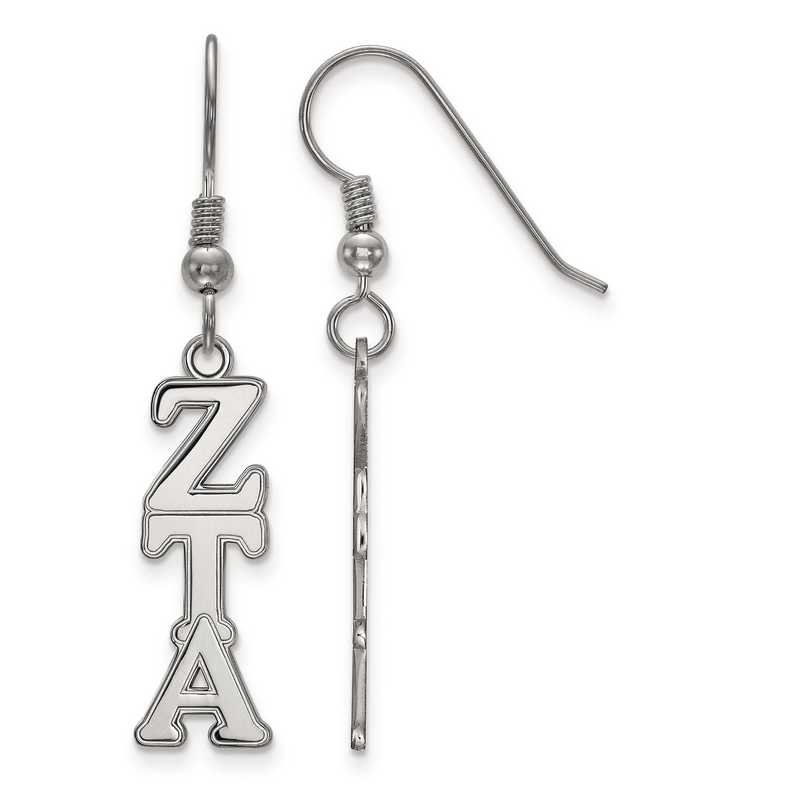 SS004ZTA: Strlng Slvr LogoArt Zeta Tau Alpha Dangle Medium Earrings