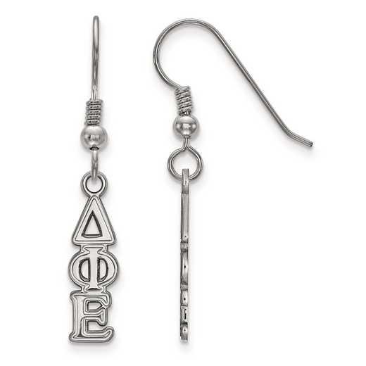 SS026DPH: Strlng Slvr LogoArt Delta Phi Epsilon XS Dangle Earrings