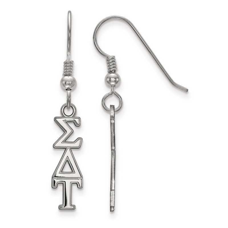 SS026SDT: Strlng Slvr LogoArt Sigma Delta Tau XS Dangle Earrings