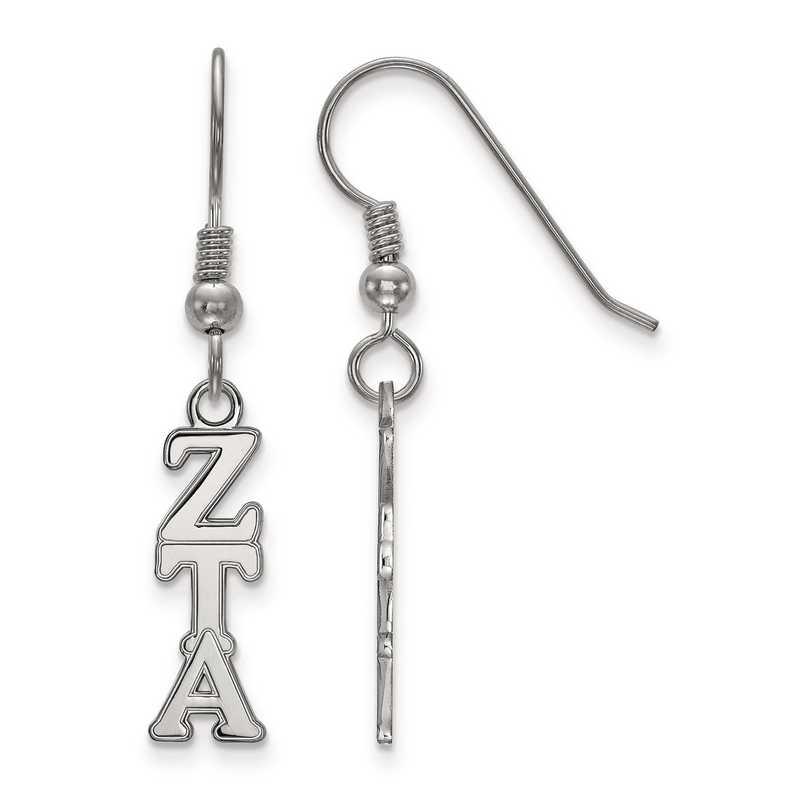SS026ZTA: Strlng Slvr LogoArt Zeta Tau Alpha Small Dangle Earrings