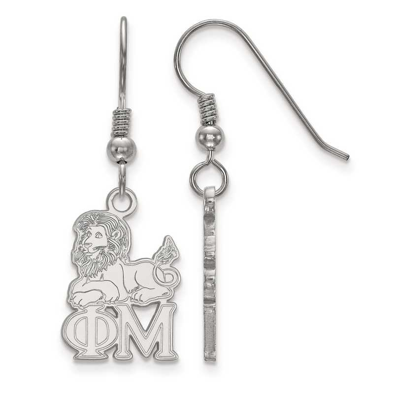 SS037PHM: Strlng Slvr LogoArt Phi Mu Small Dangle Earrings