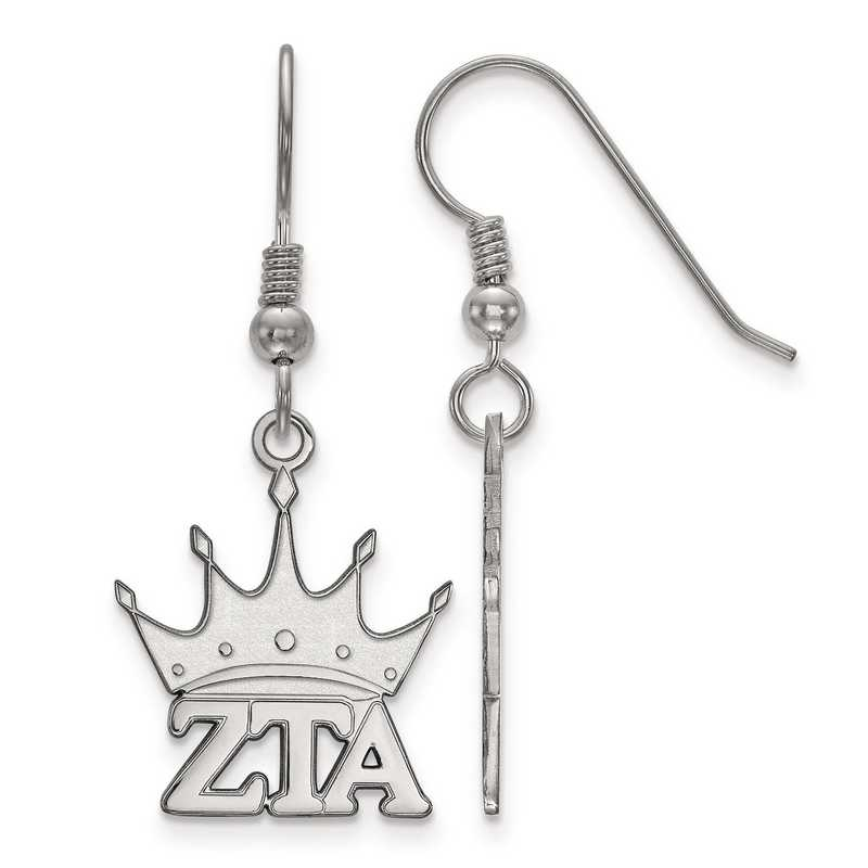 SS037ZTA: Strlng Slvr LogoArt Zeta Tau Alpha Small Dangle Earrings