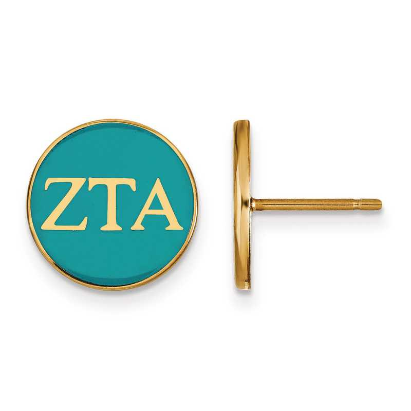 GP031ZTA: Strlng Slvr w/GP LogoArt Zeta Tau Alpha Enmld Post Erring