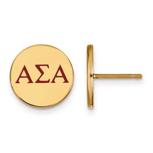 GP032ASI: Strlng Slvr w/GP LogoArt Alpha Sigma Alpha Enmld Post Erring