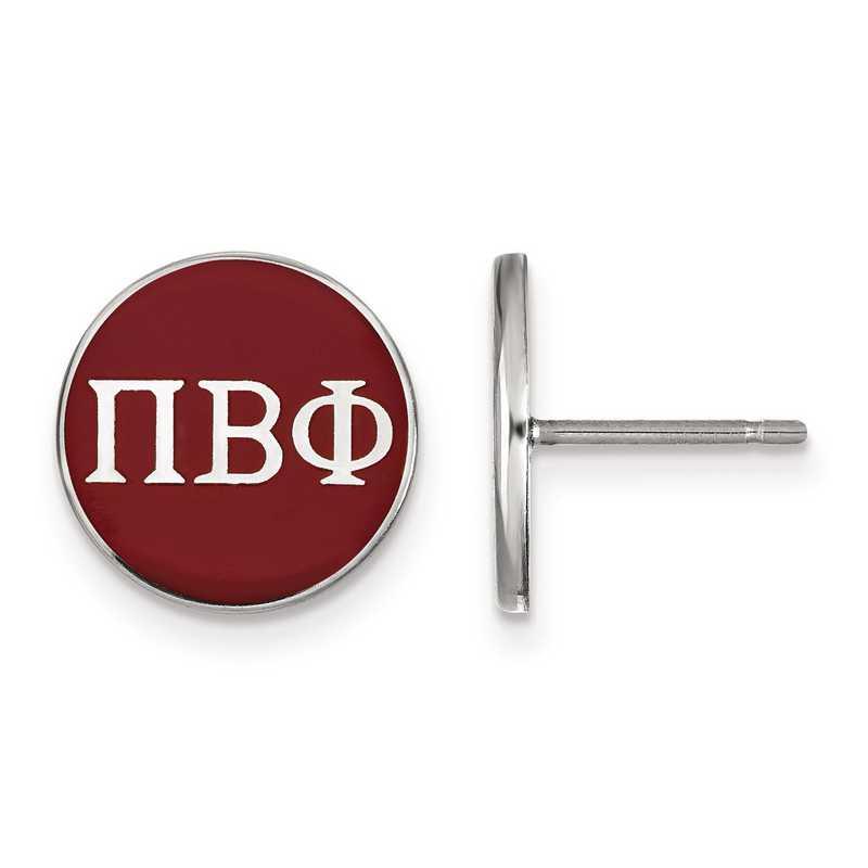 SS031PBP: Strlng Slvr LogoArt Pi Beta Phi Enamld Pst Erring
