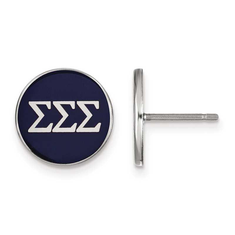 SS031SSS: Strlng Slvr LogoArt Sigma Sigma Sigma Enamld Pst Erring