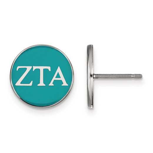 SS031ZTA: Strlng Slvr LogoArt Zeta Tau Alpha Enamld Pst Erring
