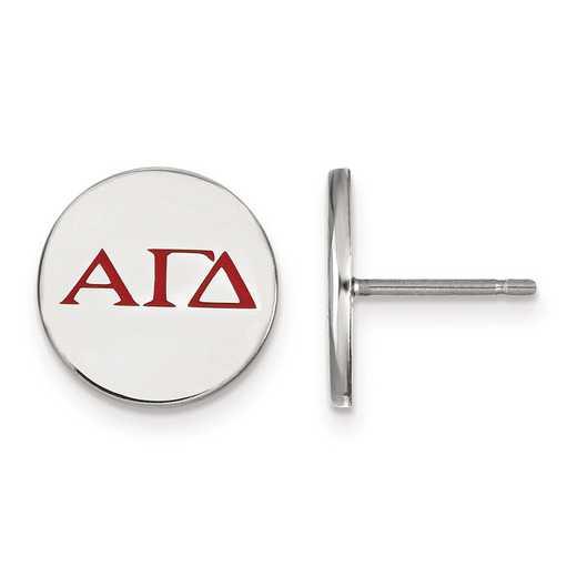SS032AGD: Strlng Slvr LogoArt Alpha Gamma Delta Enameled Post Earrings