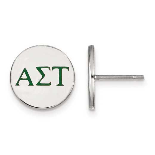 SS032ALS: Strlng Slvr LogoArt Alpha Sigma Tau Enameled Post Earrings