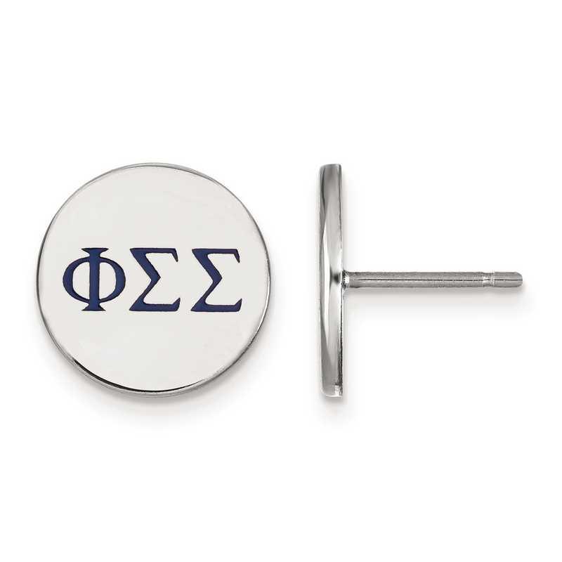 SS032PSS: Strlng Slvr LogoArt Phi Sigma Sigma Enameled Post Earrings