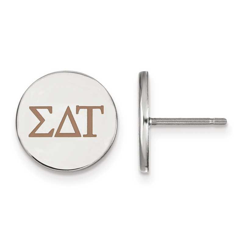 SS032SDT: Strlng Slvr LogoArt Sigma Delta Tau Enameled Post Earrings