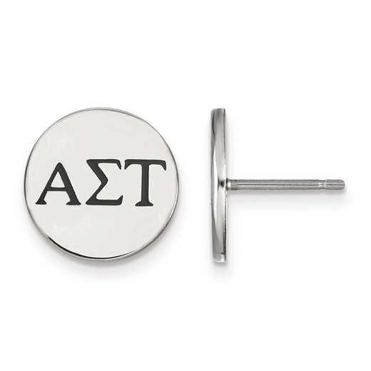SS033ALS: Strlng Slvr LogoArt Alpha Sigma Tau Enameled Post Earrings