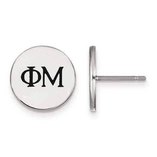 SS033PHM: Strlng Slvr LogoArt Phi Mu Enameled Post Earrings