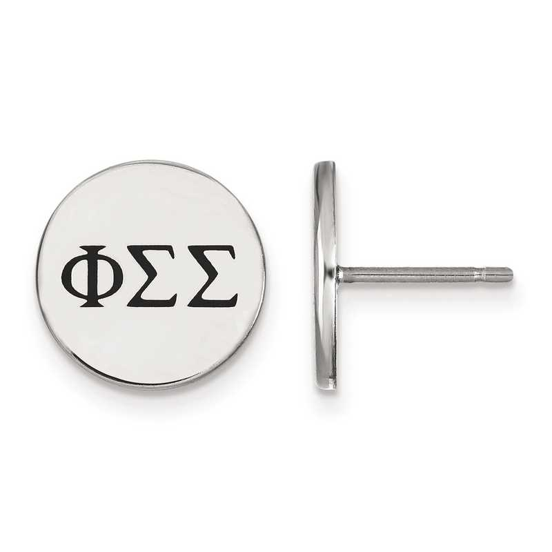 SS033PSS: Strlng Slvr LogoArt Phi Sigma Sigma Enameled Post Earrings