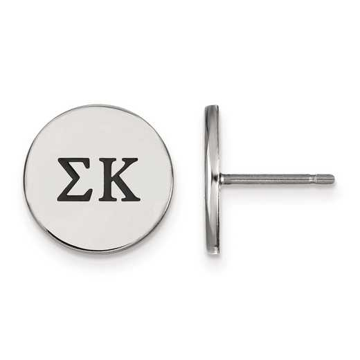 SS033SKP: Strlng Slvr LogoArt Sigma Kappa Enameled Post Earrings