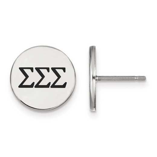 SS033SSS: Strlng Slvr LogoArt Sigma Sigma Sigma Enameled Post Earrings