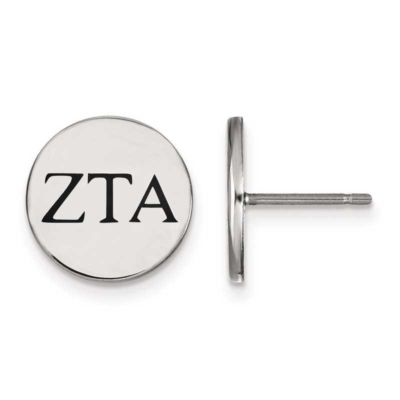 SS033ZTA: Strlng Slvr LogoArt Zeta Tau Alpha Enameled Post Earrings