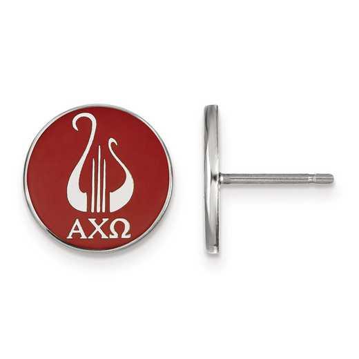 SS046ACO: Strlng Slvr LogoArt Alpha Chi Omega Enameled Post Earrings
