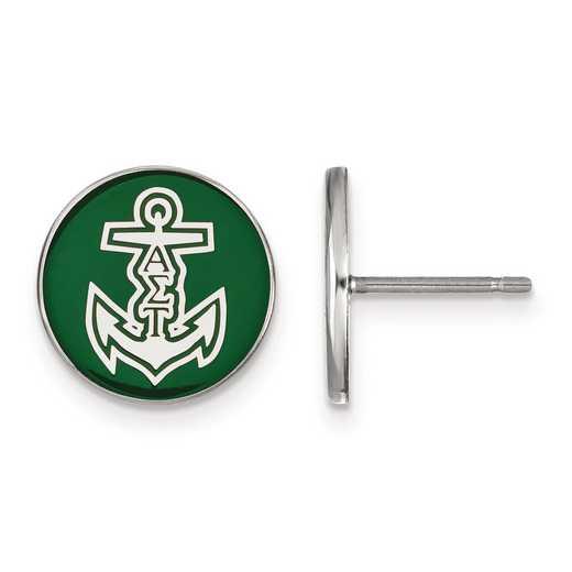 SS046ALS: Strlng Slvr LogoArt Alpha Sigma Tau Enameled Post Earrings
