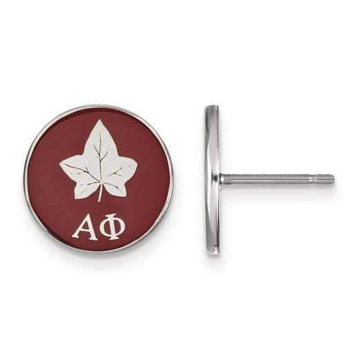 SS046APH: Strlng Slvr LogoArt Alpha Phi Enameled Post Earrings