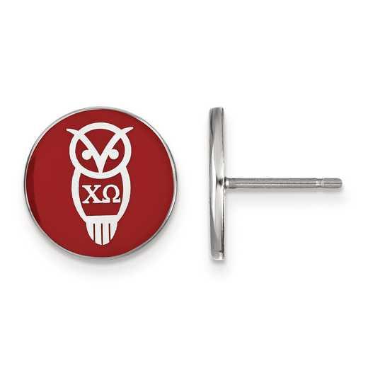 SS046CHO: Strlng Slvr LogoArt Chi Omega Enameled Post Earrings
