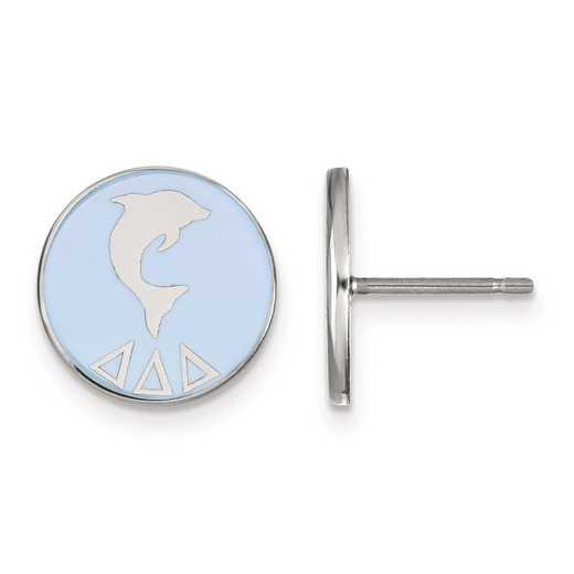 SS046DDD: Strlng Slvr LogoArt Delta Delta Delta Enameled Post Earrings