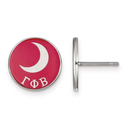SS046GPB: Strlng Slvr LogoArt Gamma Phi Beta Enameled Post Earrings