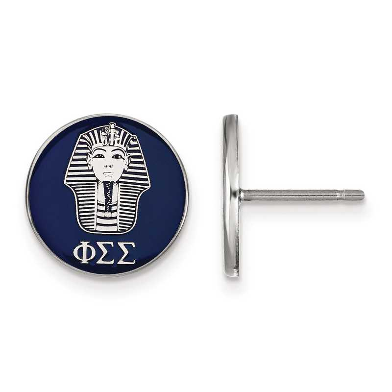 SS046PSS: Strlng Slvr LogoArt Phi Sigma Sigma Enameled Post Earrings