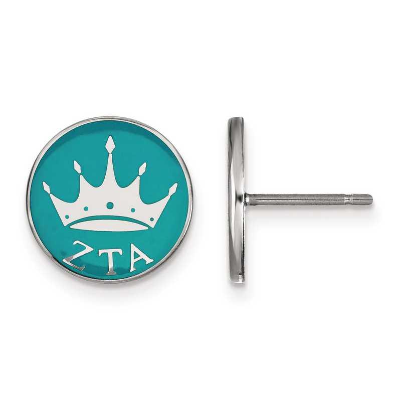 SS046ZTA: Strlng Slvr LogoArt Zeta Tau Alpha Enameled Post Earrings