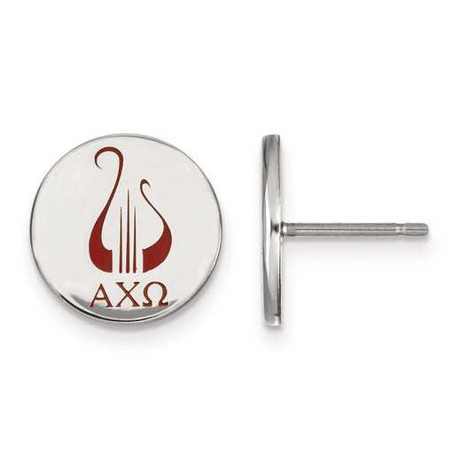 SS047ACO: Strlng Slvr LogoArt Alpha Chi Omega Enameled Post Earrings