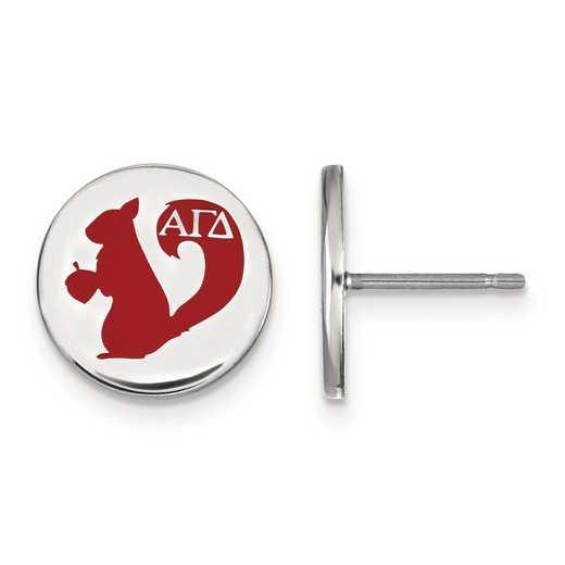 SS047AGD: Strlng Slvr LogoArt Alpha Gamma Delta Enameled Post Earrings