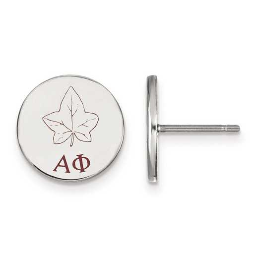 SS047APH: Strlng Slvr LogoArt Alpha Phi Enameled Post Earrings