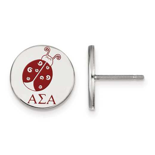 SS047ASI: Strlng Slvr LogoArt Alpha Sigma Alpha Enameled Post Earrings