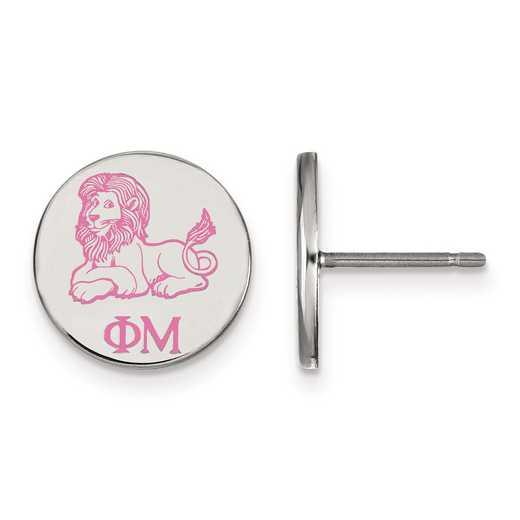 SS047PHM: Strlng Slvr LogoArt Phi Mu Enameled Post Earrings