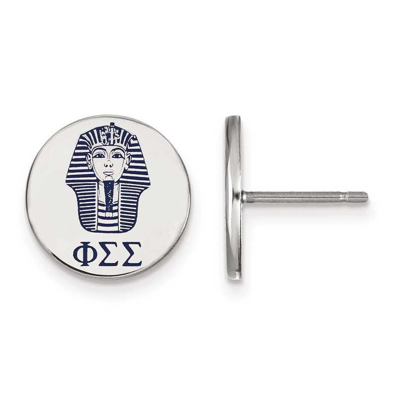 SS047PSS: Strlng Slvr LogoArt Phi Sigma Sigma Enameled Post Earrings