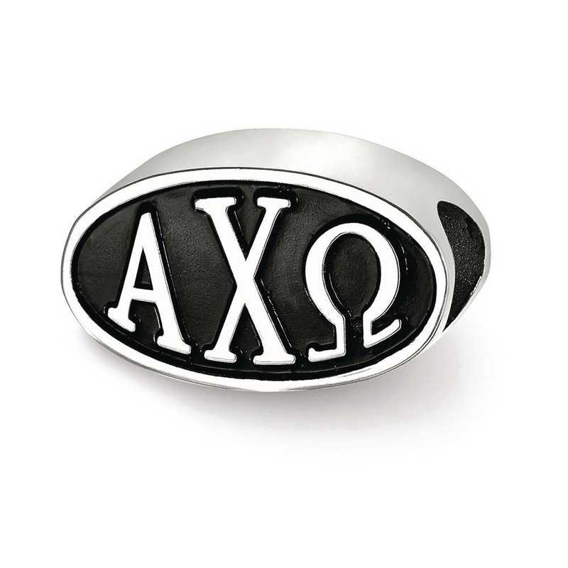 ACO002BD-SS: SS Logoart Alpha Chi Omega Oval Letters Reflection Beads