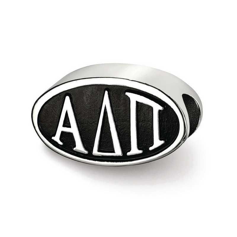 ADP002BD-SS: SS Logoart Alpha Delta Pi Oval Letters Reflection Beads