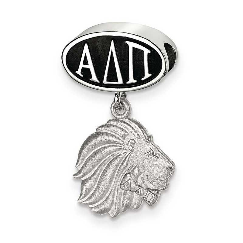ADP004BD-SS: SS Logoart Alpha Delta Pi Oval With Lion Reflection Beads