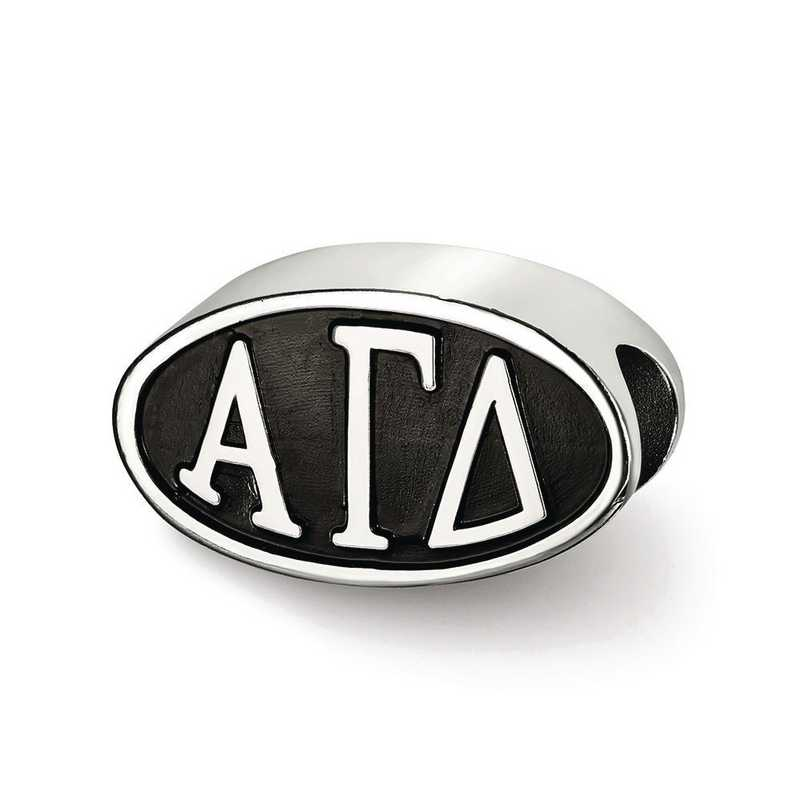 AGD002BD-SS: SS Logoart Alpha Gamma Delta Oval Letters Reflection Beads