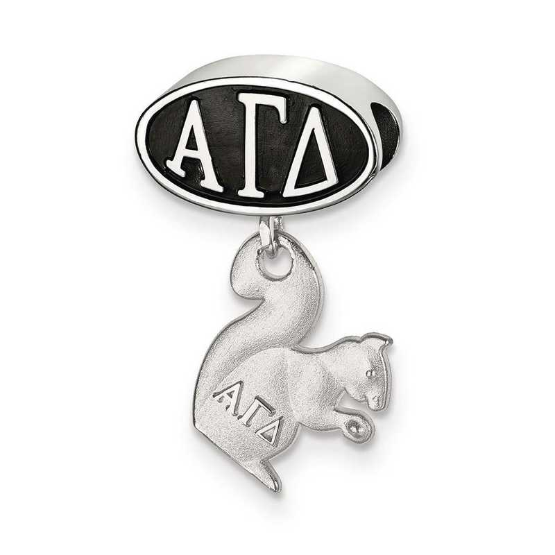 AGD004BD-SS: SS Logoart Alpha Gamma Delta Oval Squirrel Reflection Beads