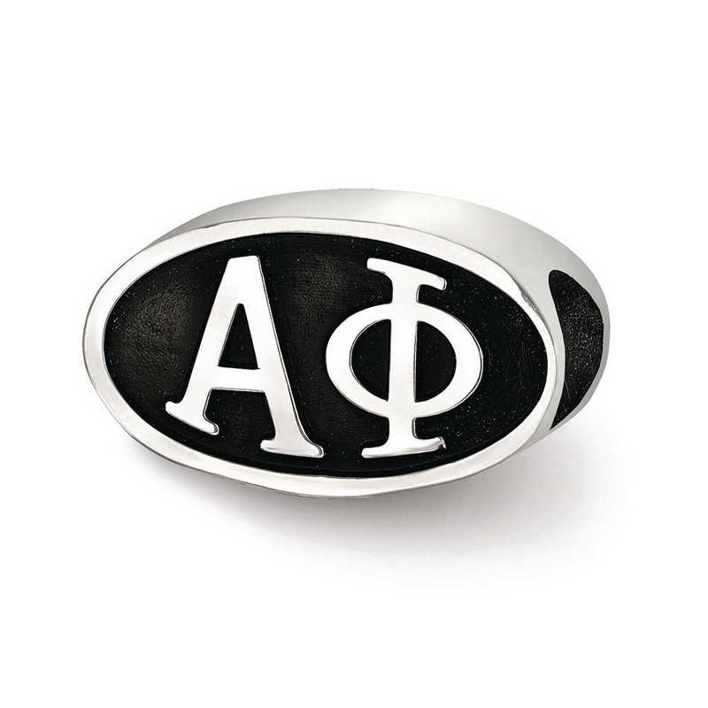 APH002BD-SS: SS Logoart Alpha Phi Oval Letters Reflection Beads