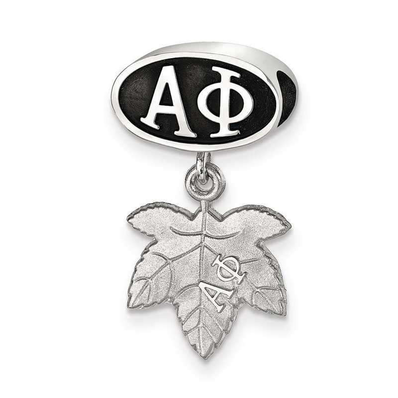 APH004BD-SS: SS Logoart Alpha Phi With Oval Ivy Leaf Reflection Beads