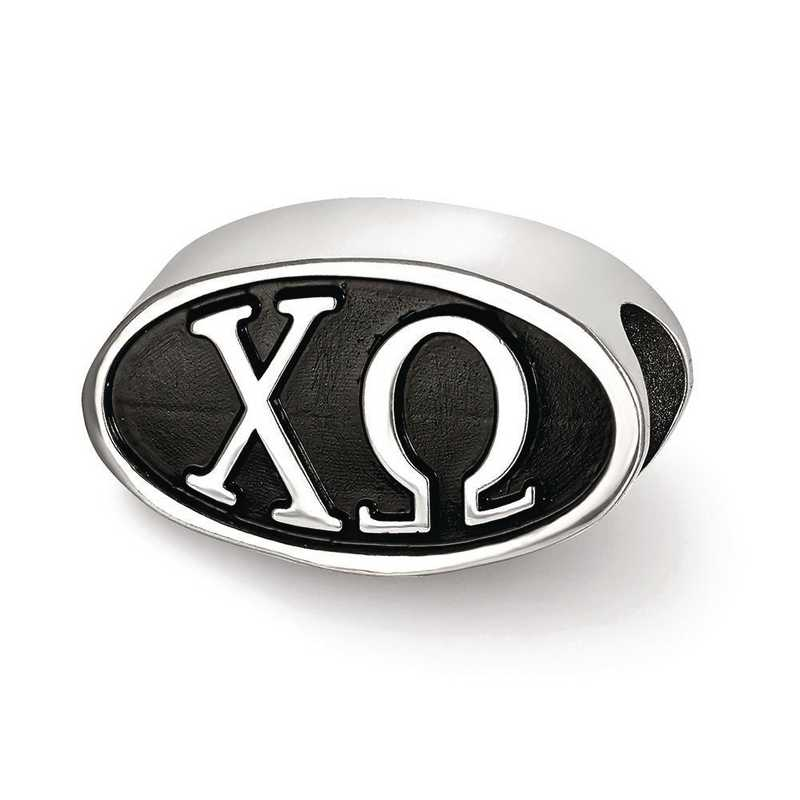 CHO002BD-SS: SS Logoart 15.25Mm Chi Omega Oval Letters Reflection Beads